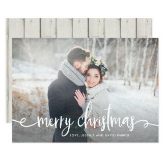 Carte Joyeuse photo rustique moderne de Noël |