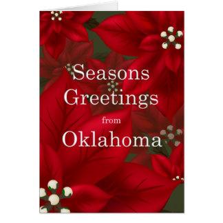 Carte Joyeuses Fêtes de poinsettia de l'Oklahoma