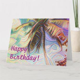 Carte Joyeux Anniversaire Abstrait de Rainbow Palm Tree