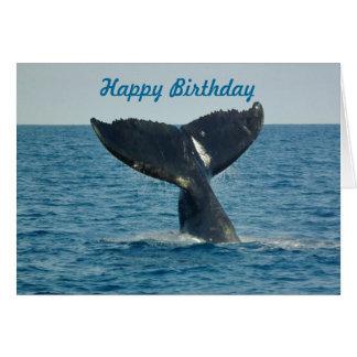 Carte Joyeux anniversaire avec la queue d'une baleine et