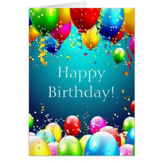 Carte Joyeux anniversaire - ballons colorés par bleu -