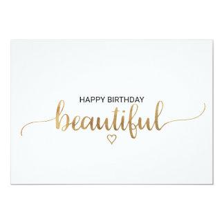 Carte Joyeux anniversaire de calligraphie élégante d'or