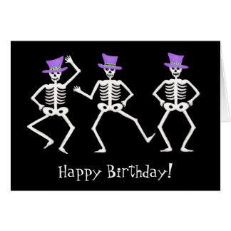 Carte Joyeux anniversaire de danse squelettique noir de