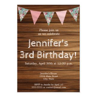 Carte Joyeux anniversaire de ferme de fille en bois