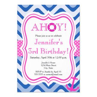 Carte Joyeux anniversaire de fille rose nautique côtière