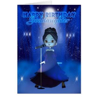 Carte Joyeux anniversaire de filleule chantant à Deva la