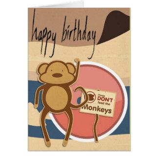 Carte Joyeux anniversaire de singe drôle mignon