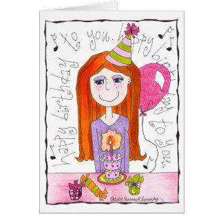 Carte Joyeux anniversaire de Tween d'enfant mignon de