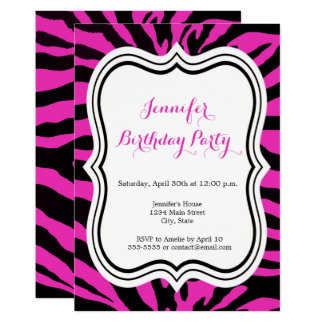 Carte Joyeux anniversaire de zèbre de fille rose et