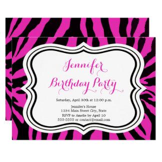 Carte Joyeux anniversaire de zèbre de mode de fille rose