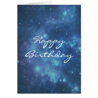 Carte Joyeux anniversaire d'image cosmique bleue et