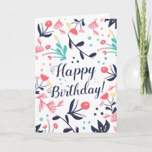 Carte Joyeux anniversaire floral en pastel tropical