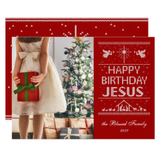 Carte Joyeux anniversaire Jésus de chandail laid