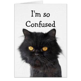 Carte Joyeux anniversaire noir confus de chat persan