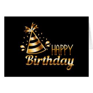 Carte Joyeux anniversaire - noir et or 3
