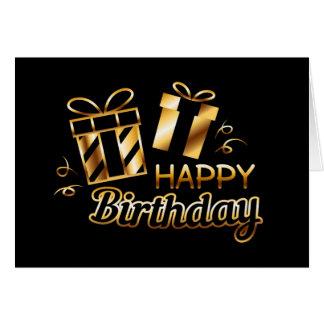 Carte Joyeux anniversaire - noir et or 4