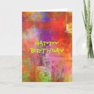 Carte Joyeux anniversaire - peinture abstraite