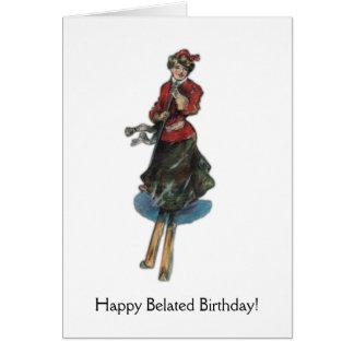 Carte Joyeux anniversaire tardif pour un skieur de femme