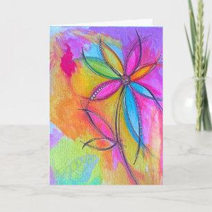 Carte Joyeux dessin de fleurs Abstraites pour l'annivers