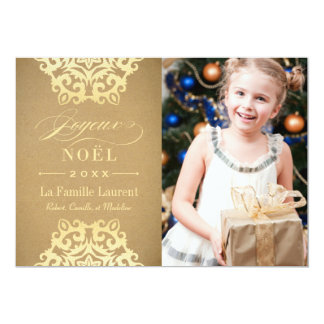 Carte Joyeux Noël Carte-Photo | Papier Kraft et Or