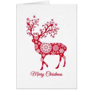 Carte Joyeux Noël, cerf commun rouge avec des flocons de