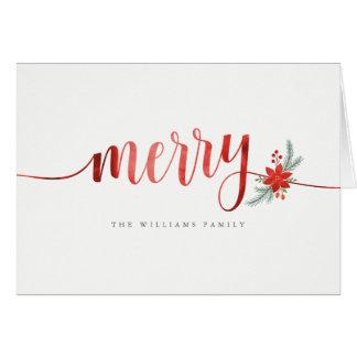 Carte Joyeux Noël de poinsettia d'aquarelle