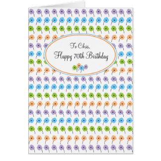 Carte Joyeux soixante-dixième anniversaire de fleurs