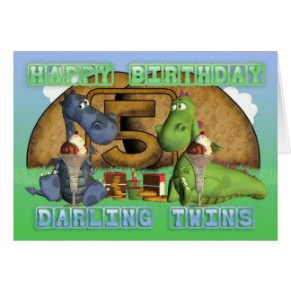 Carte Jumeaux chéris de joyeux anniversaire, paires de