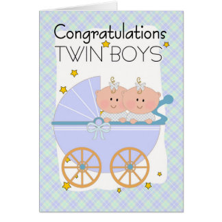 Carte Jumeaux - garçons jumeaux de félicitations dans un