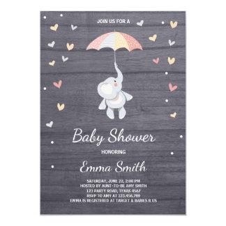 Carte Jungle de rose de fille d'invitation de baby