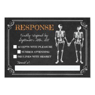 Carte Jusqu'à la réponse noire orange squelettique de