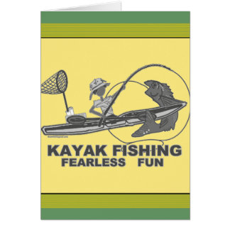 Carte Kayak pêchant fantaisie noir et blanc