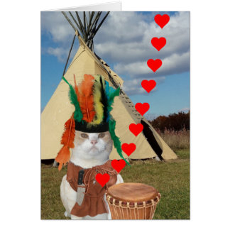 Carte Kitty indien indigène drôle Valentine