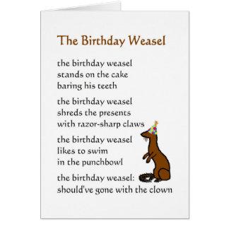 Carte La belette d'anniversaire - un poème drôle