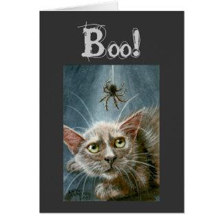 Carte La carte, le chat et l'araignée de Halloween,