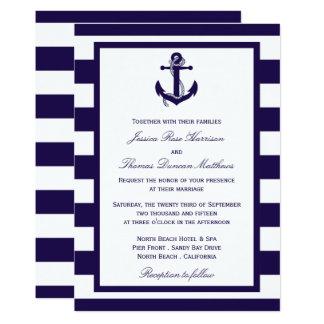 Carte La collection nautique de mariage de rayure de