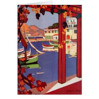 Carte La Côte d'Azur vintage, France -