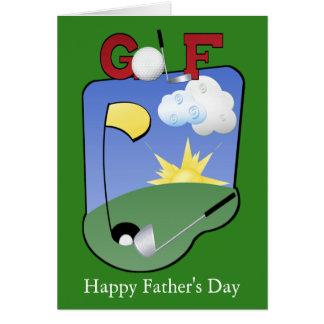 Carte La fête des pères heureuse de golfeurs ou