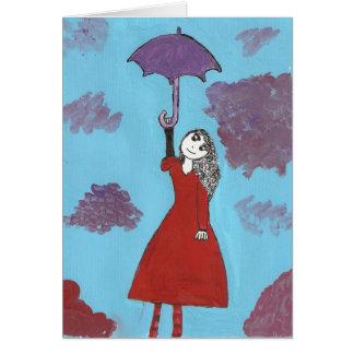 Carte La fille de parapluie