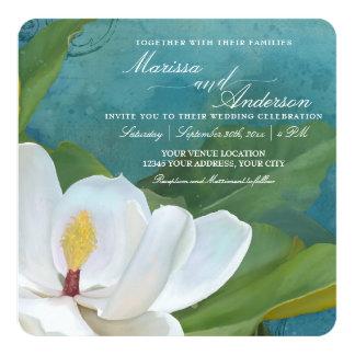 Carte La fleur élégante W de fleur de magnolia laisse