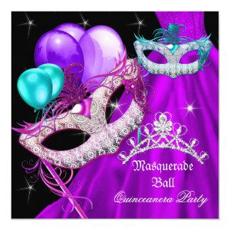 Carte La mascarade Quinceanera masque la robe pourpre