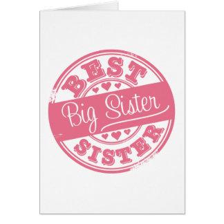 Carte La meilleure grande soeur - effet de tampon en