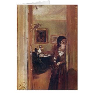 Carte La soeur de l'artiste de salon - Adolph Von Menzel