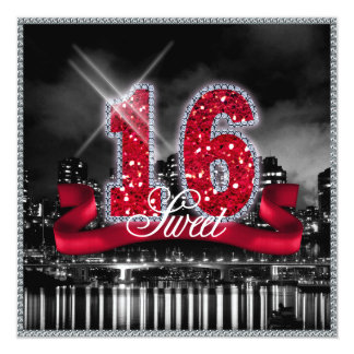 Carte La ville allume le sweet sixteen ID242 rouge