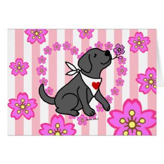 Carte Labrador et fleurs de cerisier noirs