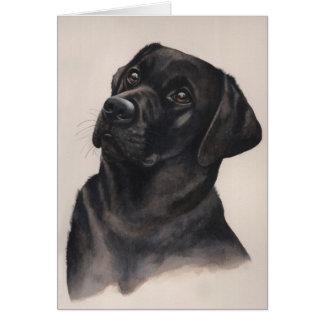 Carte Labrador noir peint dans la couleur pour aquarelle