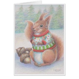 Carte laide d'écureuil de chandail de Noël par