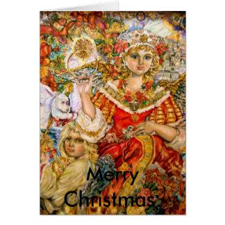 Carte L'ange de la poinsettia., Joyeux Noël