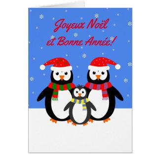Carte Langue française de pingouins de Joyeux Noël Bonne