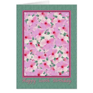 Carte L'anniversaire, 100th, ketmie rose fleurit la